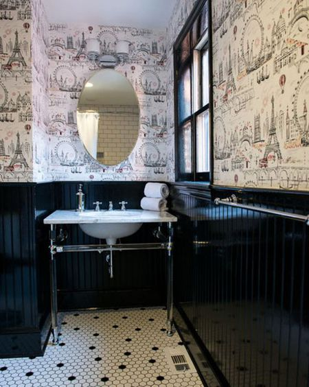 Black Bathroom With Wallpaper