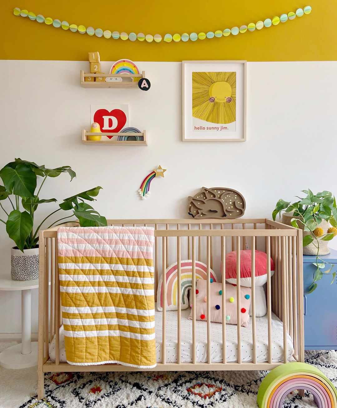 Colorful nursery with yellow walls