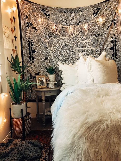 Boho chic teen room with tapestry