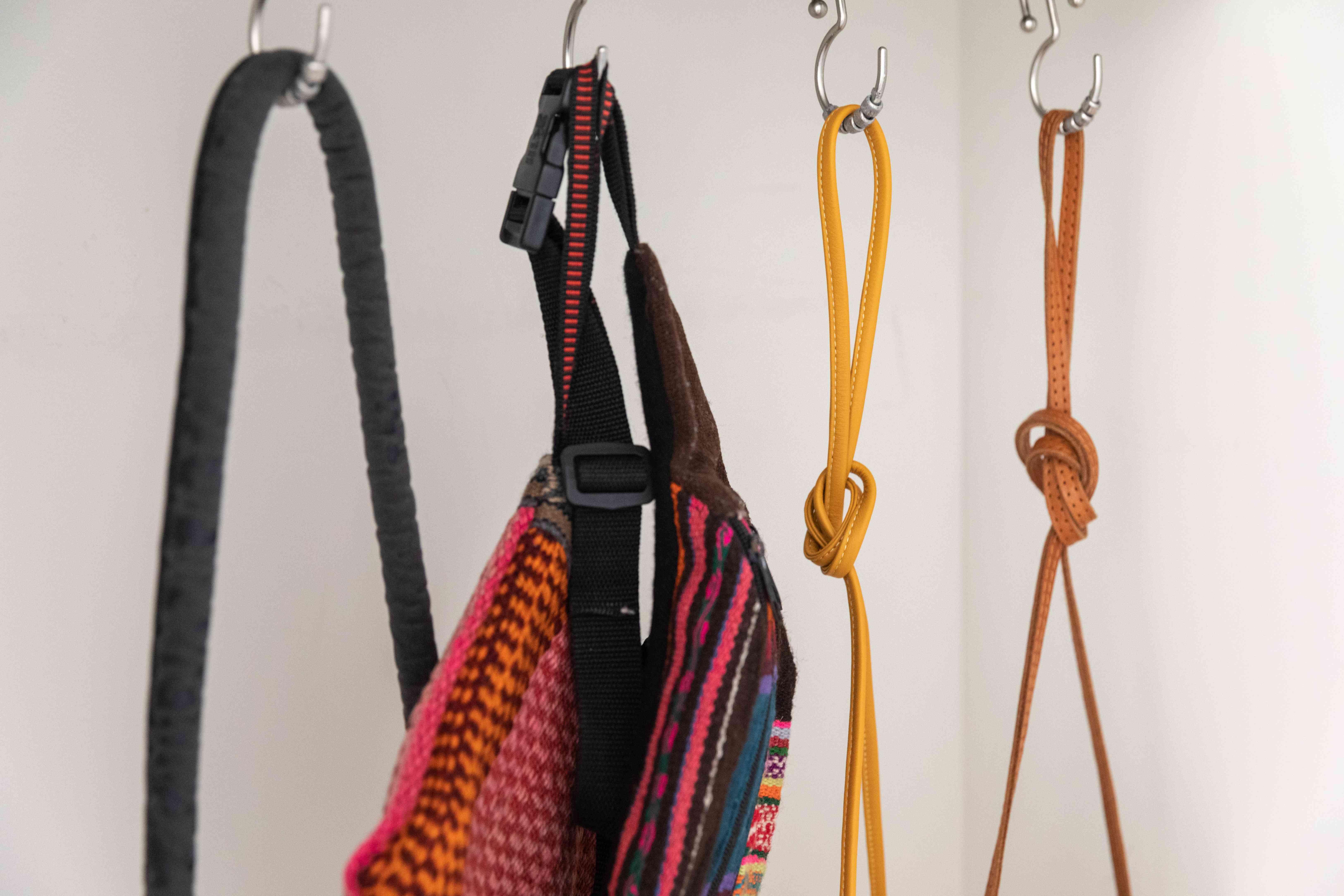 using shower curtain rings to hang handbags