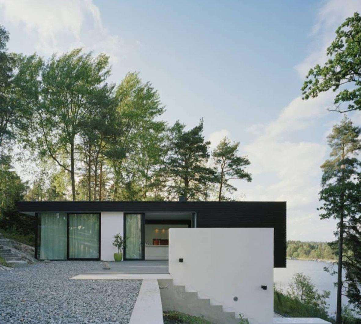 black and white concrete house