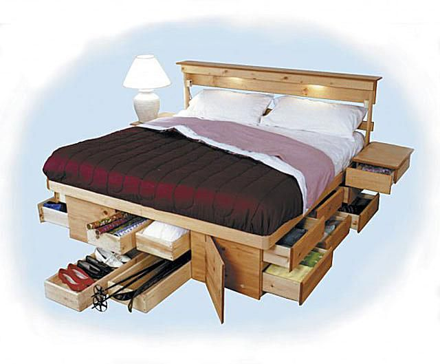 Queen Bed Frame With Storage.Wood Platform Beds With Storage Drawers