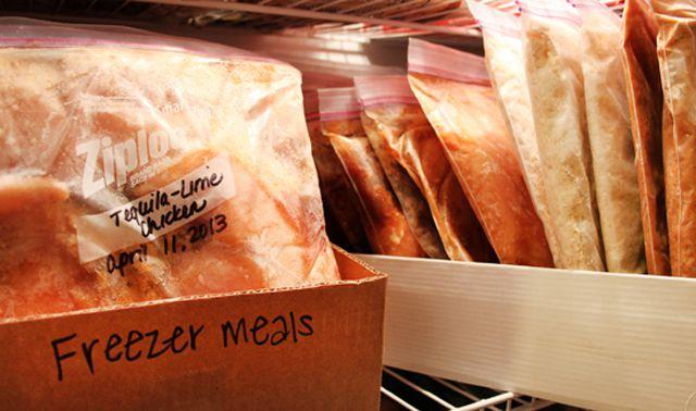 Cardboard boxes organize your freezer