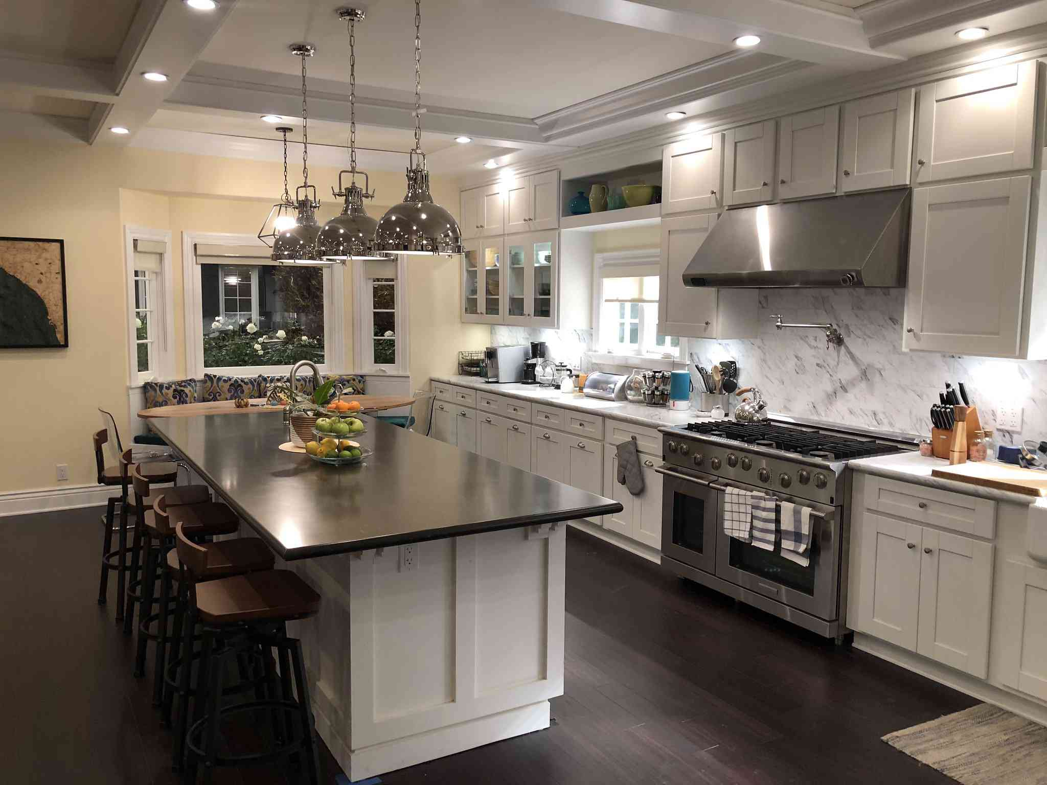 The set of Netflix's Dead to Me showing Jen's spotless kitchen