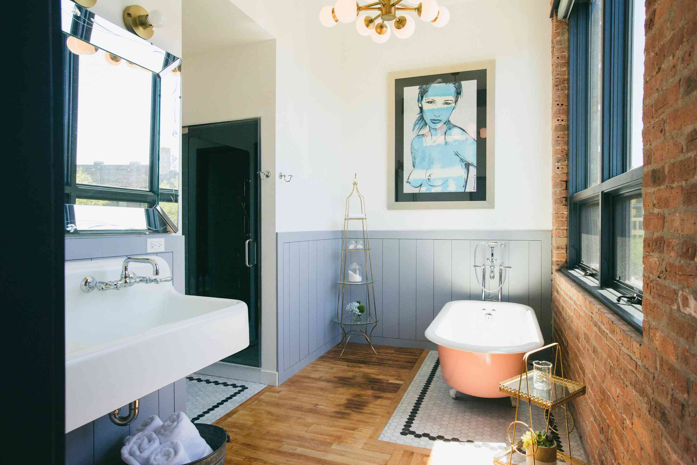 colorful clawfoot tub