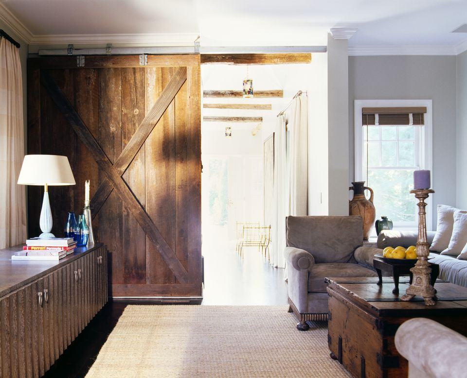 Sliding barn door in a living room