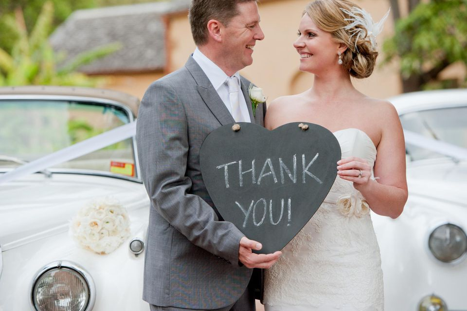 Wedding thank you note wording bride groom with thank you sign junglespirit Gallery