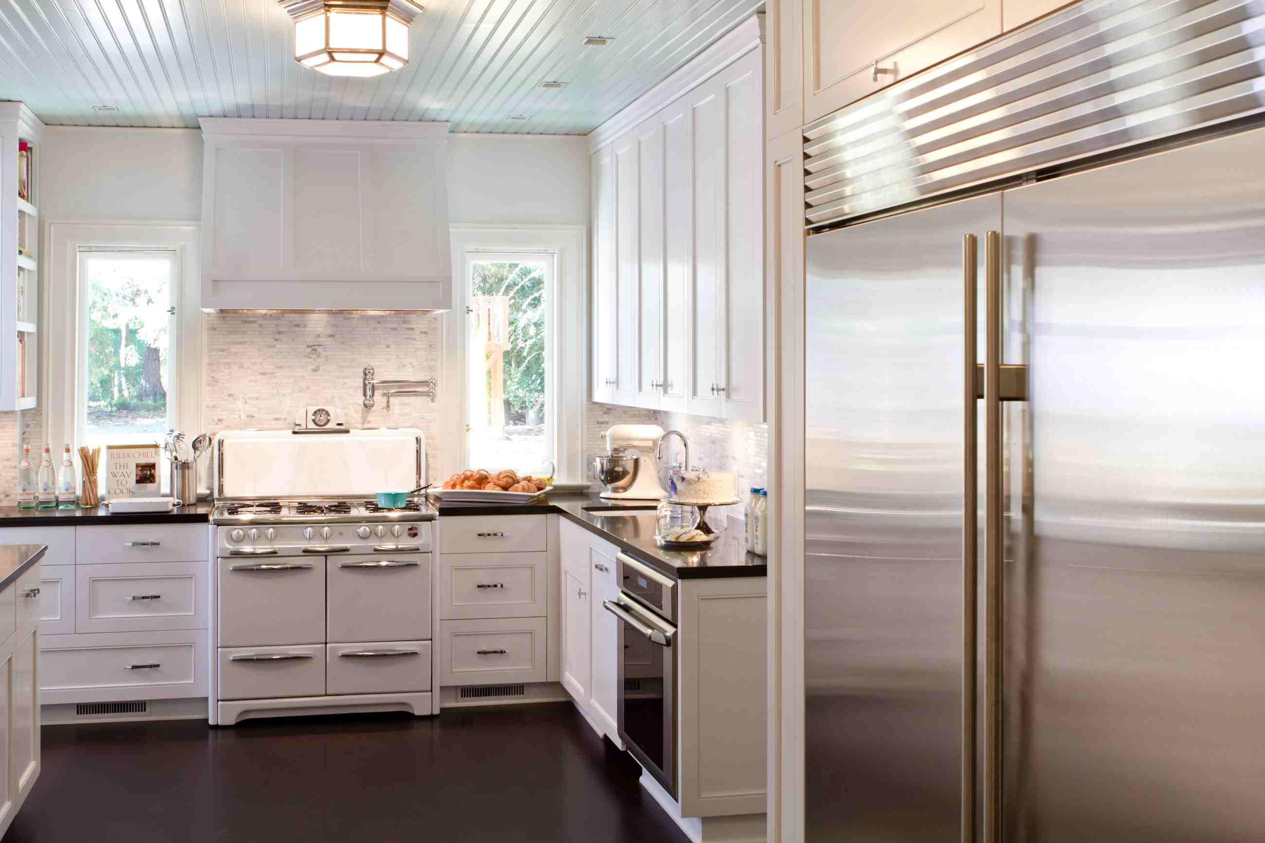 pale blue ceiling in white retro kitchen