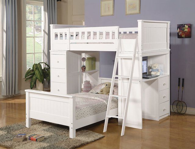 Harriet Bee Otha L-shaped Bunk Bed with Built-in Desk and Shelves
