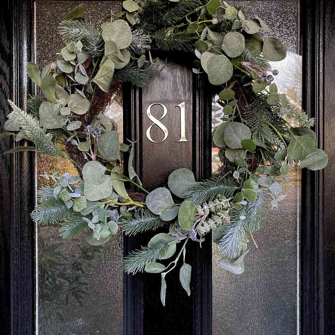 Door with dried greenery