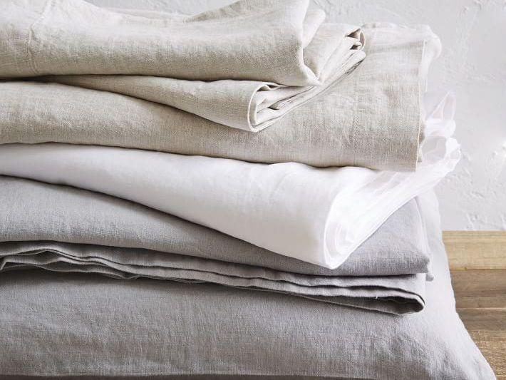 NEW EUROPEAN LINEN Label Belgian Linen FULL SIZE SHEET SET Platinum Gray