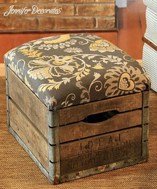 Milk crate foot stool and storage ottoman