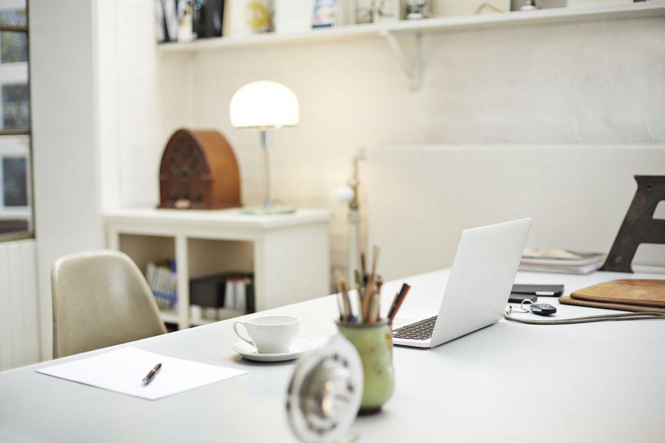Still-life of desk at small creative office