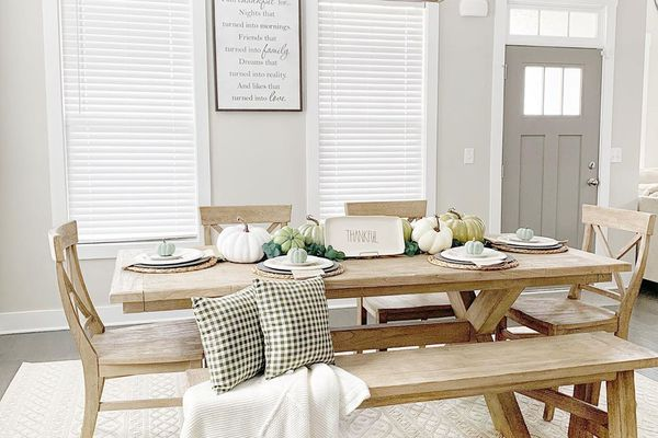 Dining room painted shades of grey