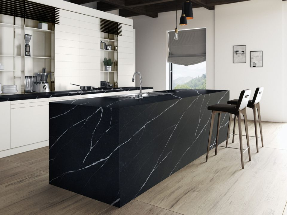 Eternal Marquina from Silestone kitchen island.
