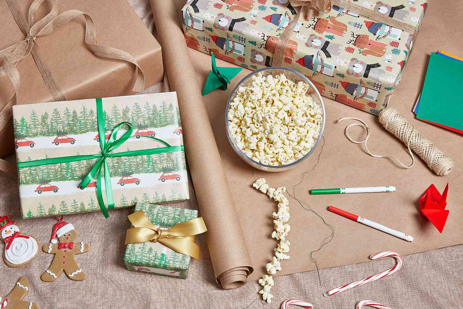 stringed popcorn and wrapped presents