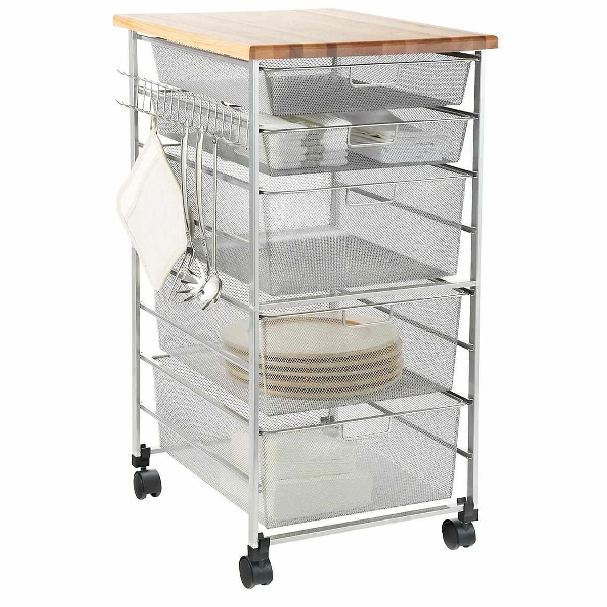 The Container Store Elfa Platinum Mesh Kitchen Cart