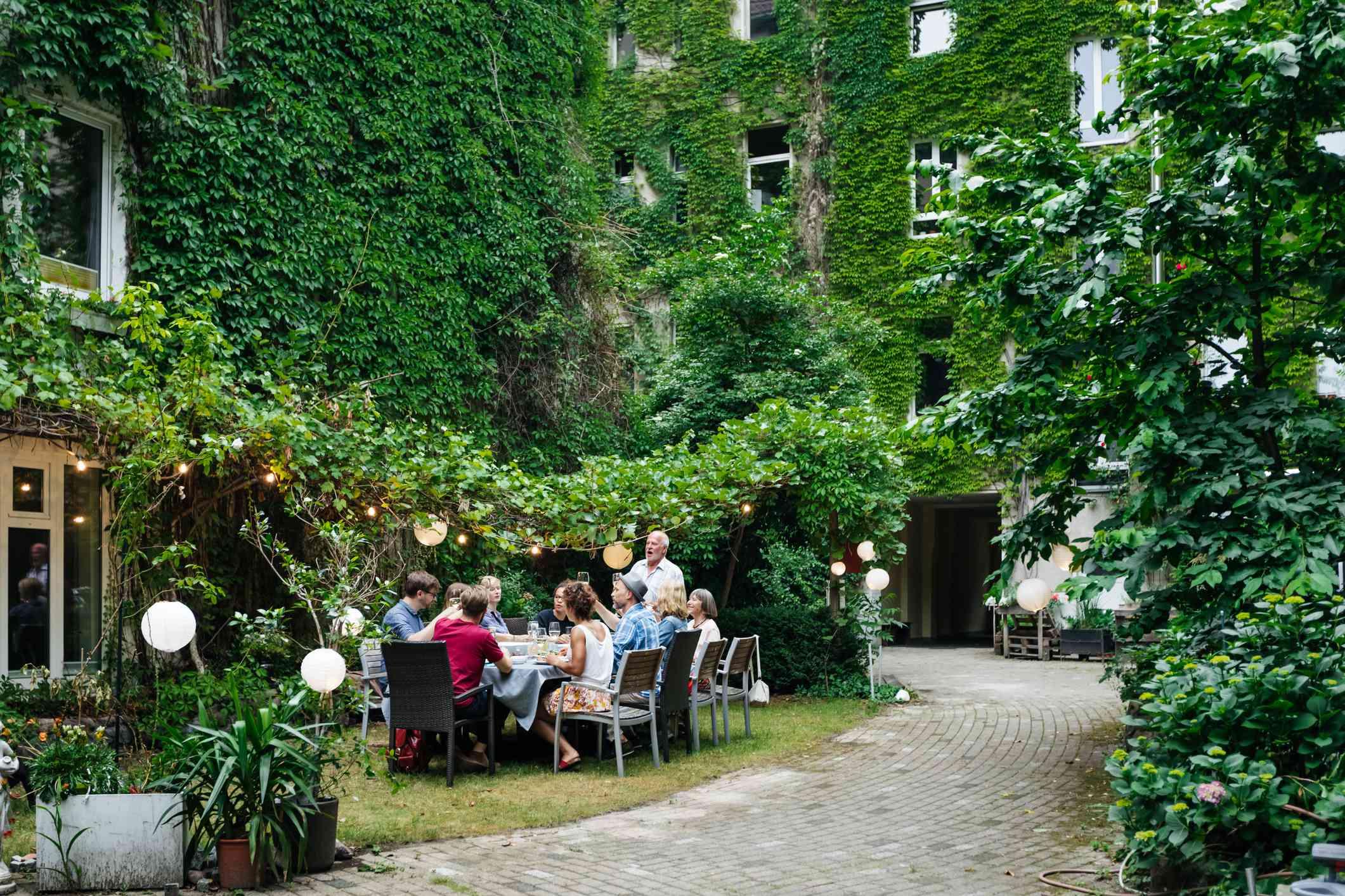people enjoying outdoor meal
