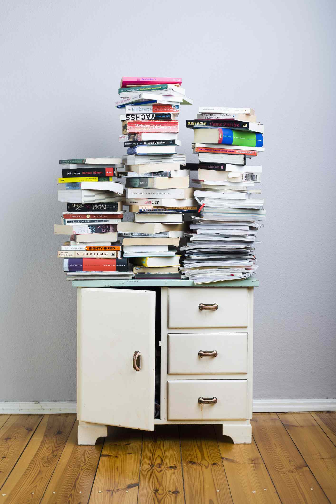 cabinet with books on top