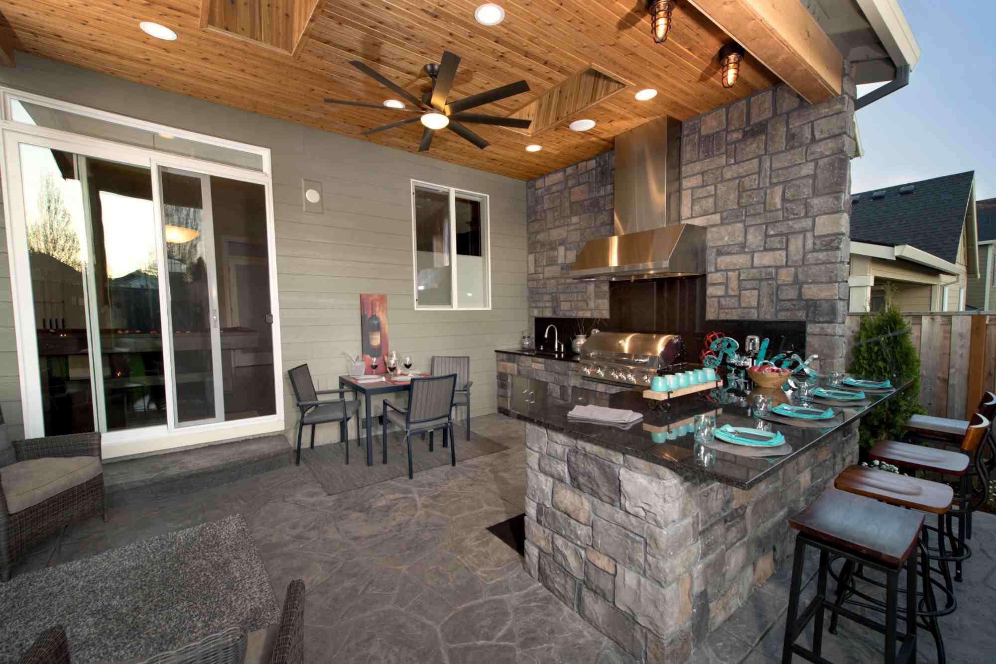 cocina y sala de estar al aire libre