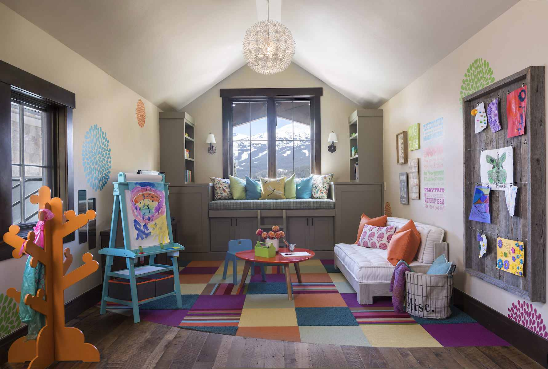 colorful playroom with a rustic vibe