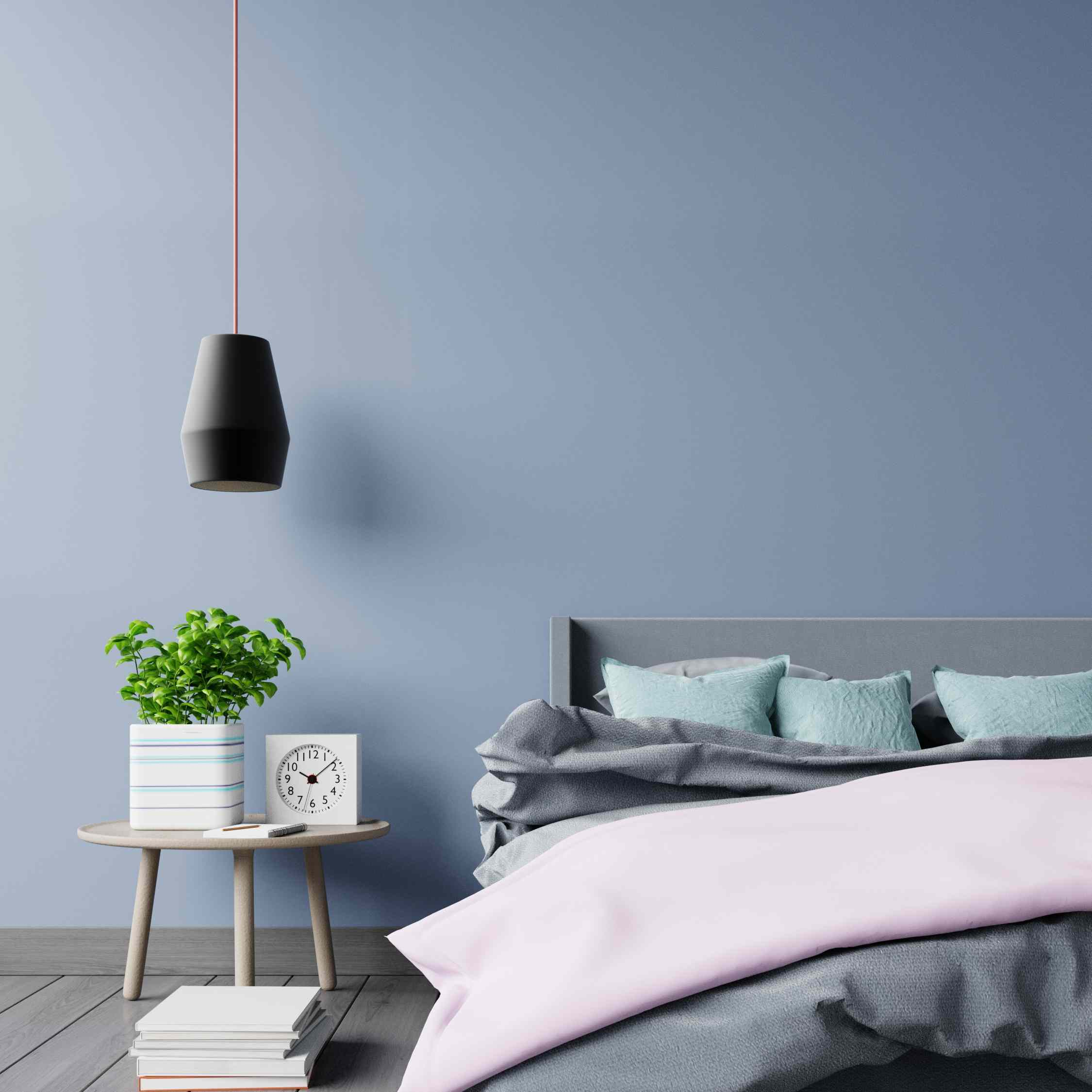 serene bedroom with blue wall