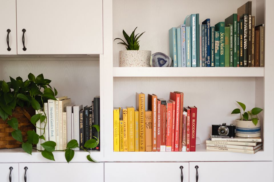 Home library designed with white shelves and books organized by colors next to houseplants