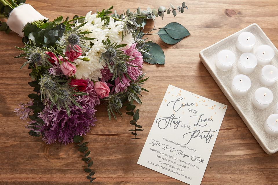Wedding bouquet and invitation