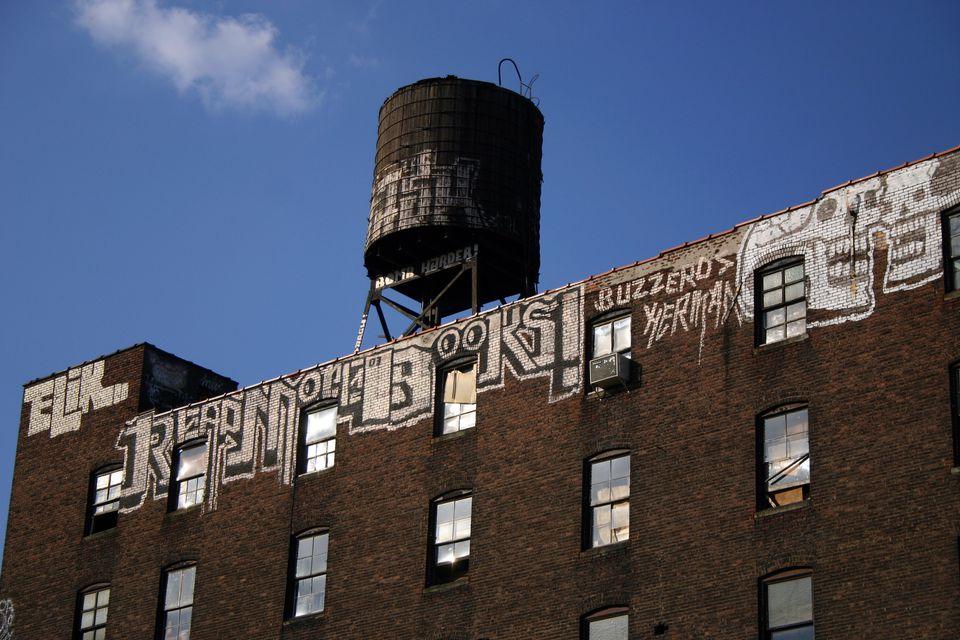Water tower building in Brooklyn