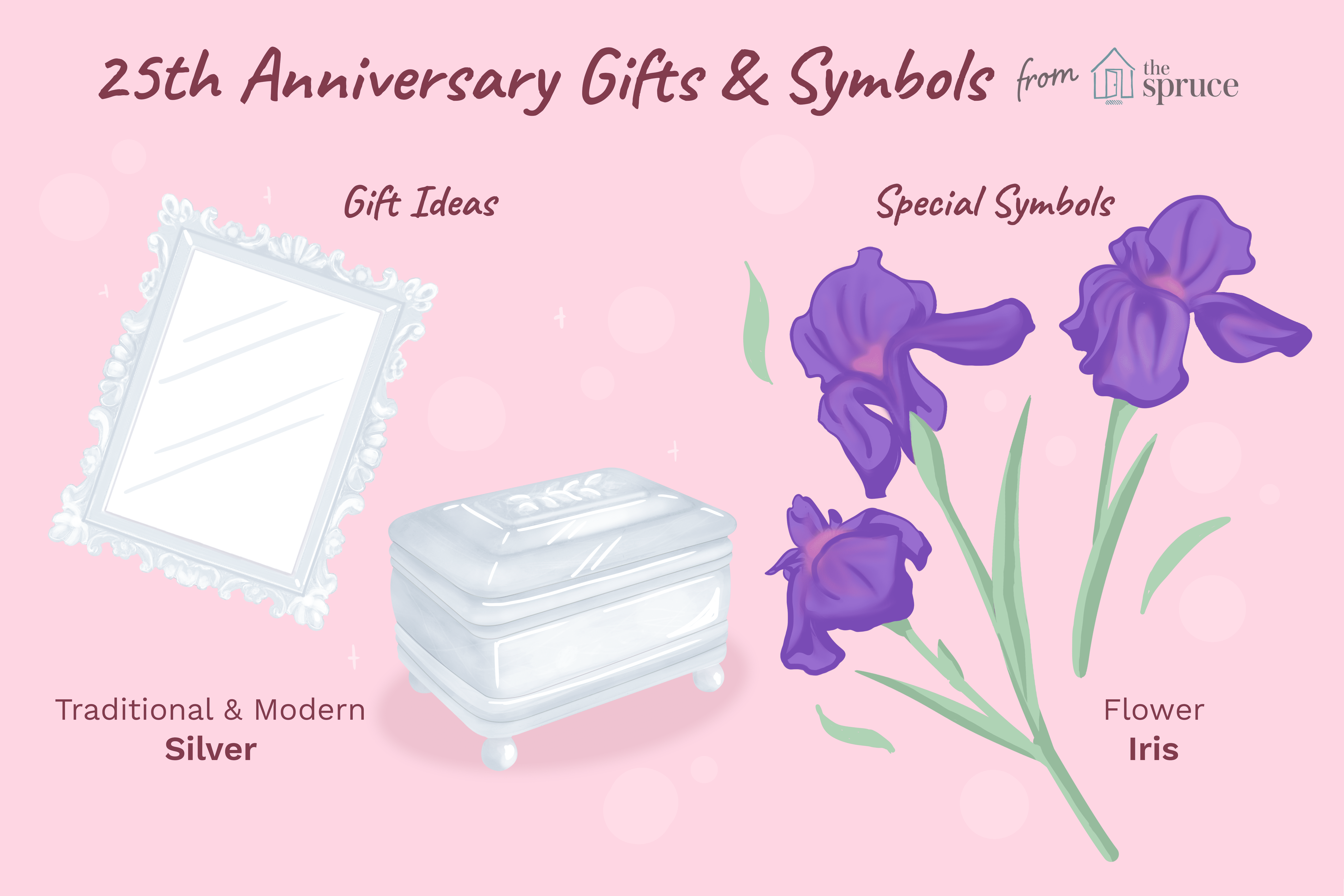 illustration of 25th anniversary gifts and symbols