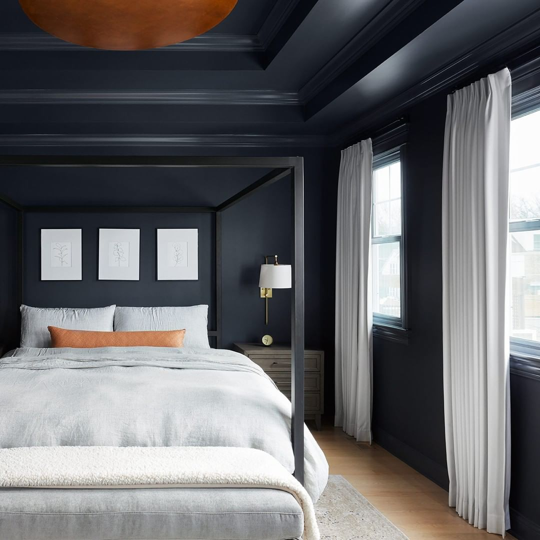 Bedroom with black walls and gray bedding