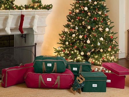Christmas tree bags and other bags by fireplace