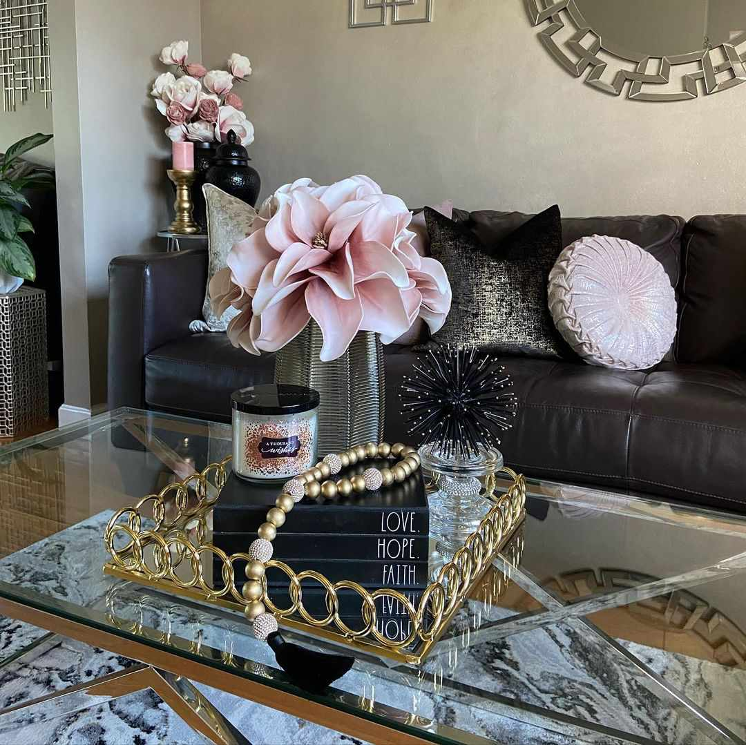 black leather sofa glam