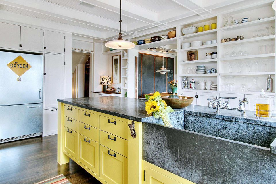 37 Colorful Kitchens to Brighten Your Cooking Space on soapstone countertops white, soapstone countertops green, soapstone countertops granite, soapstone countertops farmhouse sink, soapstone countertops kitchen, soapstone countertops backsplash, soapstone countertops diy, soapstone countertops subway tile, soapstone countertops black,