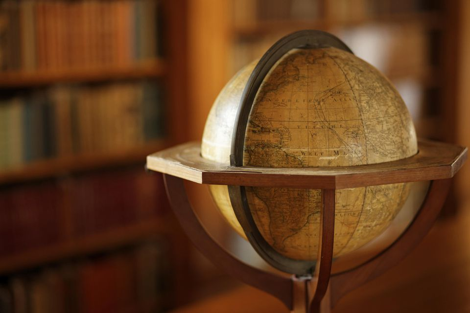 Vintage globe in a library