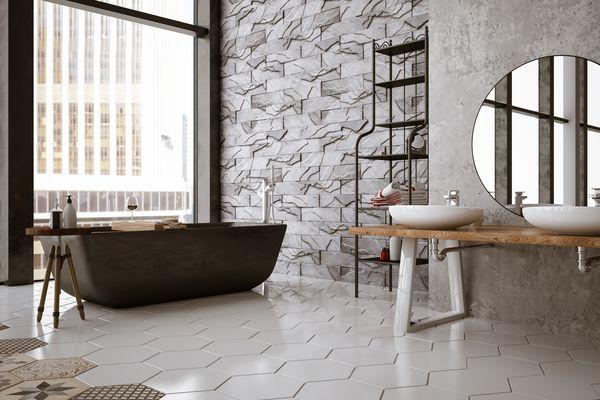Hexagonal Floor Tile in Bathroom