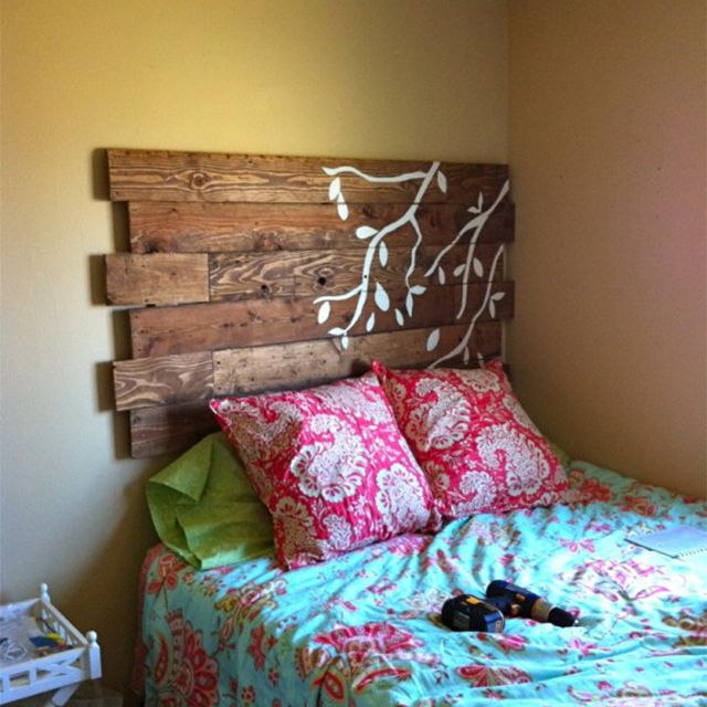 A painted pallet headboard