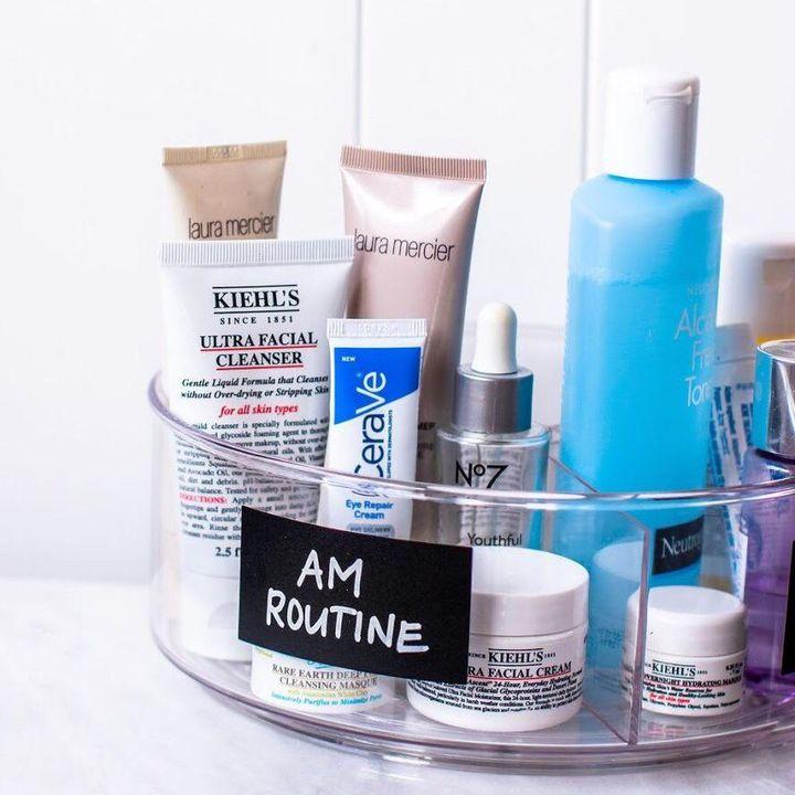 Facial creams in an organized container