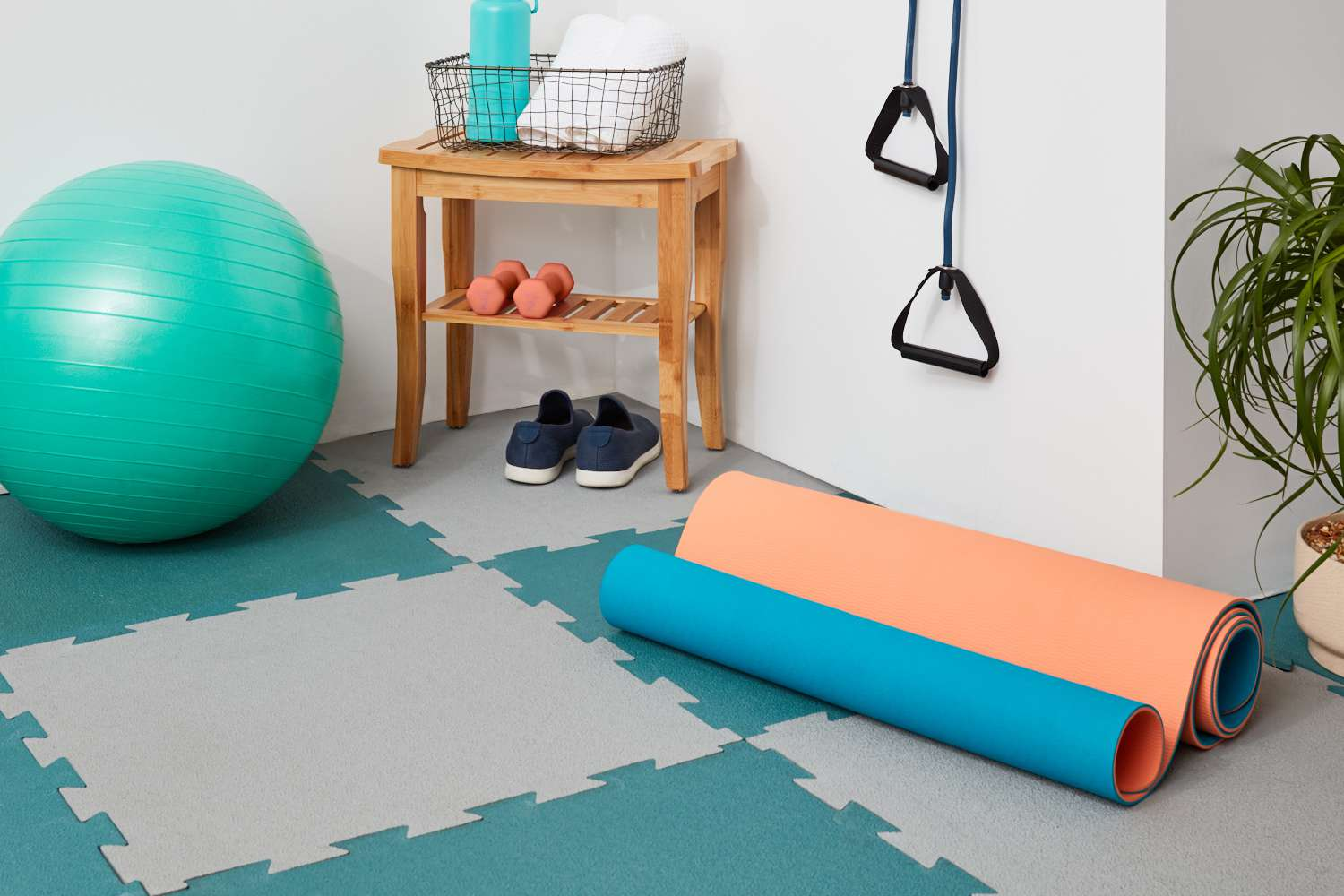 Home gym with rubber flooring