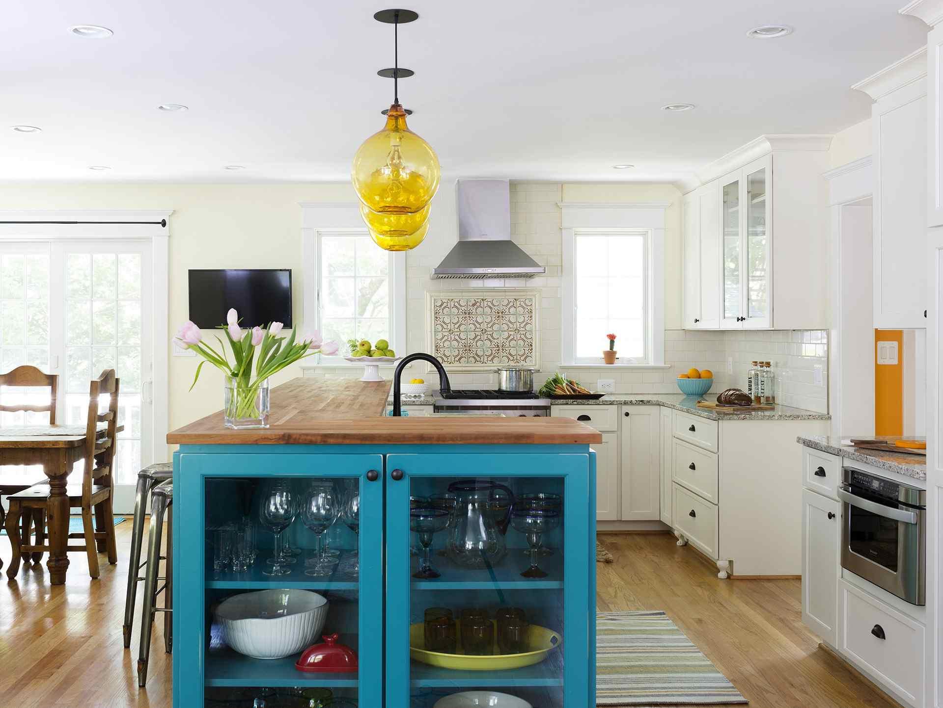 Butcher block and granite farmhouse kitchen