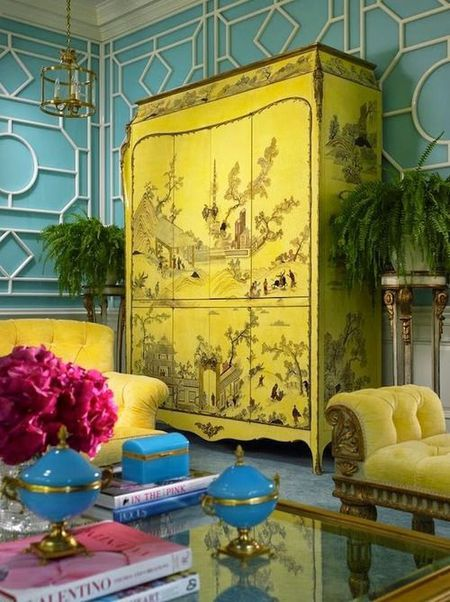 Blue Room With Stunning Yellow Chinoiserie Cabinet