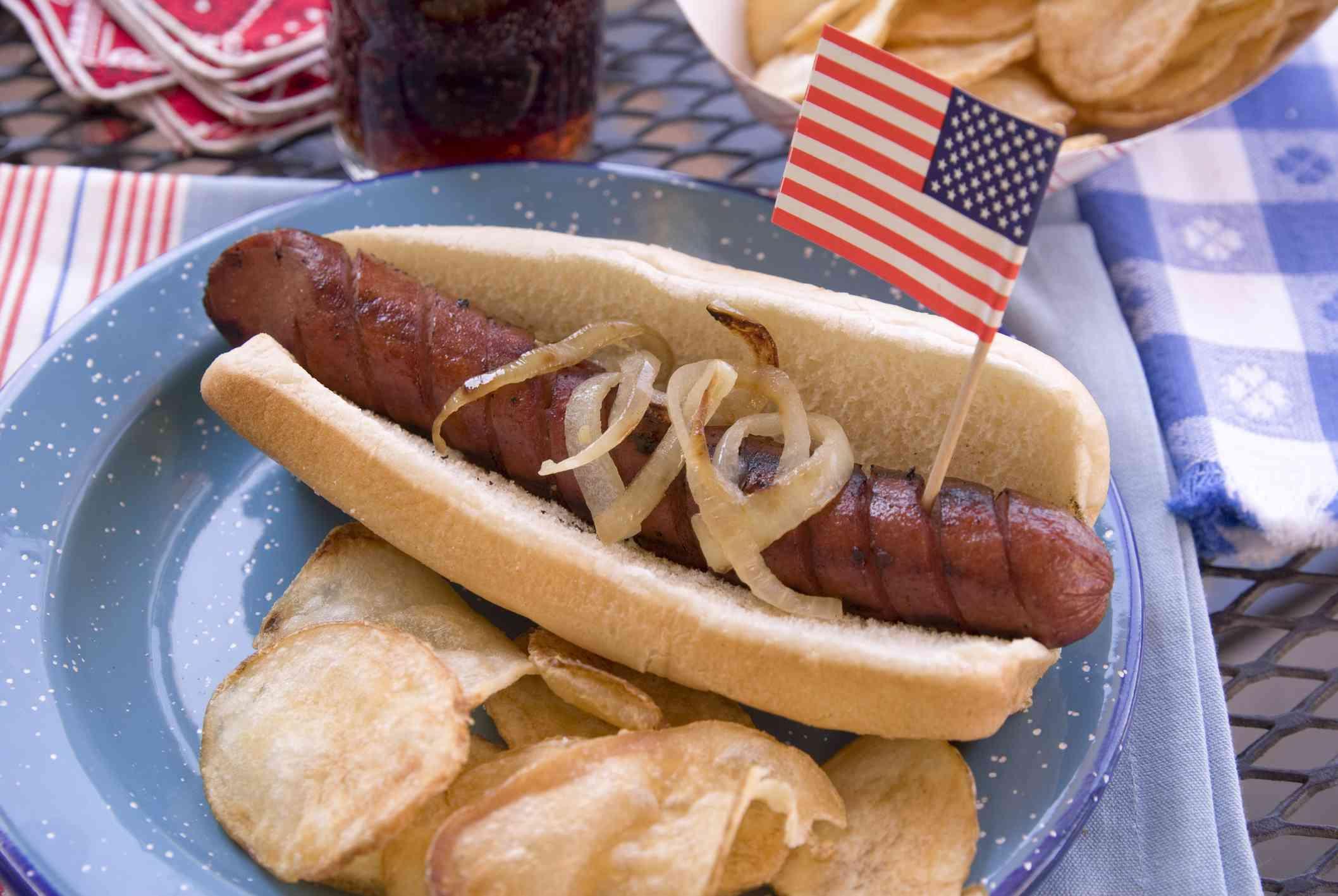 Hot dog and chips en una barbacoa del 4 de julio