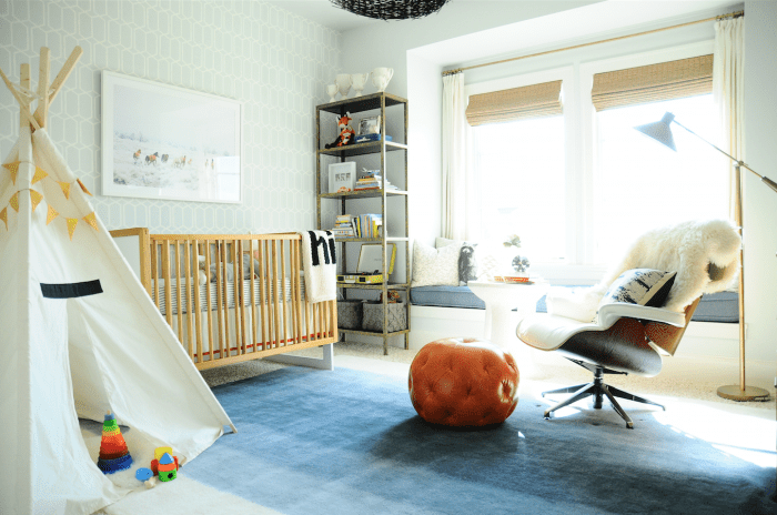 Bright and modern nursery room in neutral colors