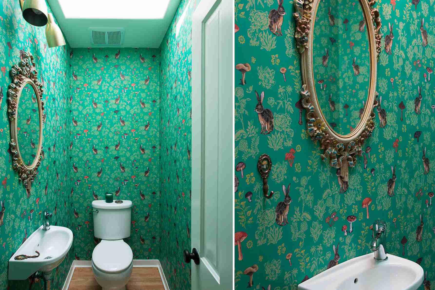 Green bathroom with bunny wallpaper