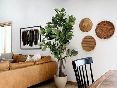 Baskets next to a living room