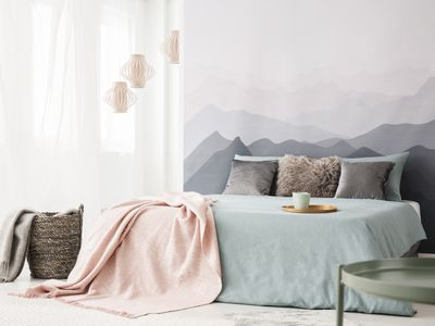 Pastel bedroom interior with mountain