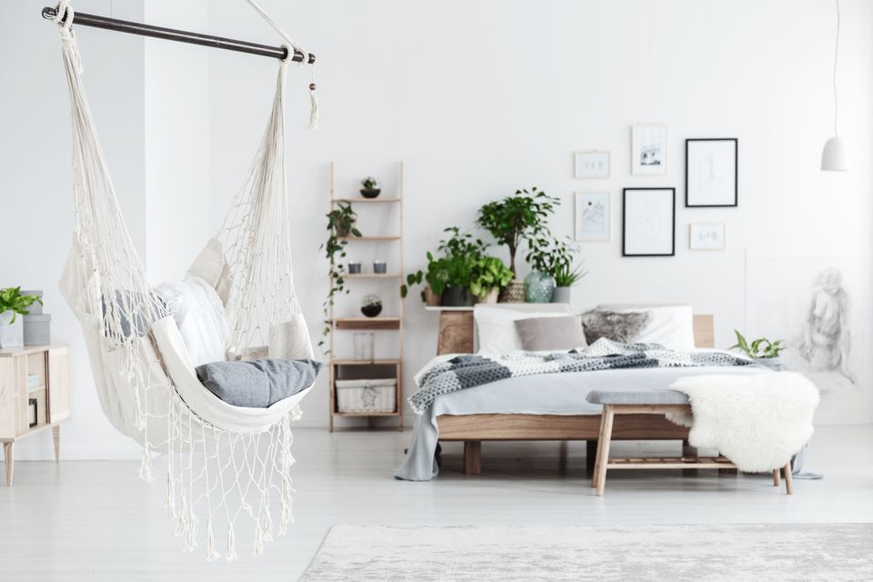 White hammock in bedroom interior