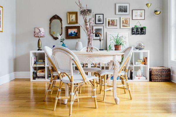 vintage pieces in retro dining room