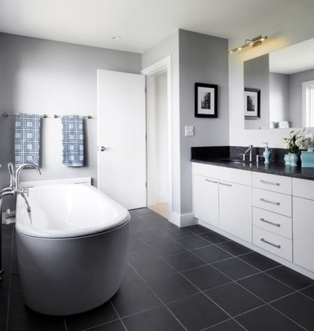 Gray Black And Blue Modern Bathroom