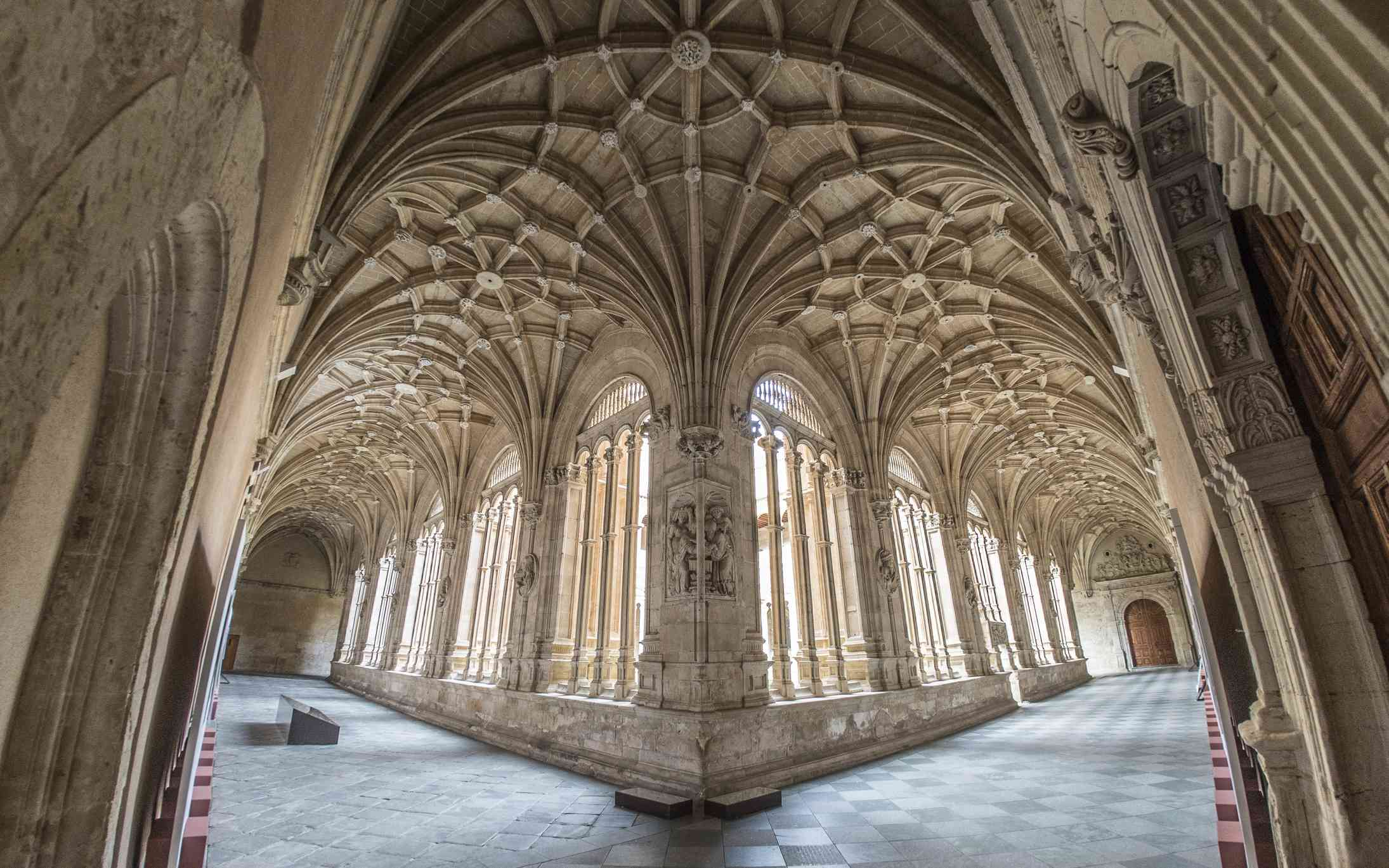 Ribbed vaults in a Gothic cathedral.